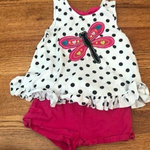 Ruffle bottom tank top with bow back and shorts 3T